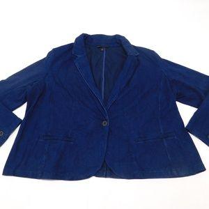 Lane Bryant 28 Blue One Button Blazer  Cotton Blen